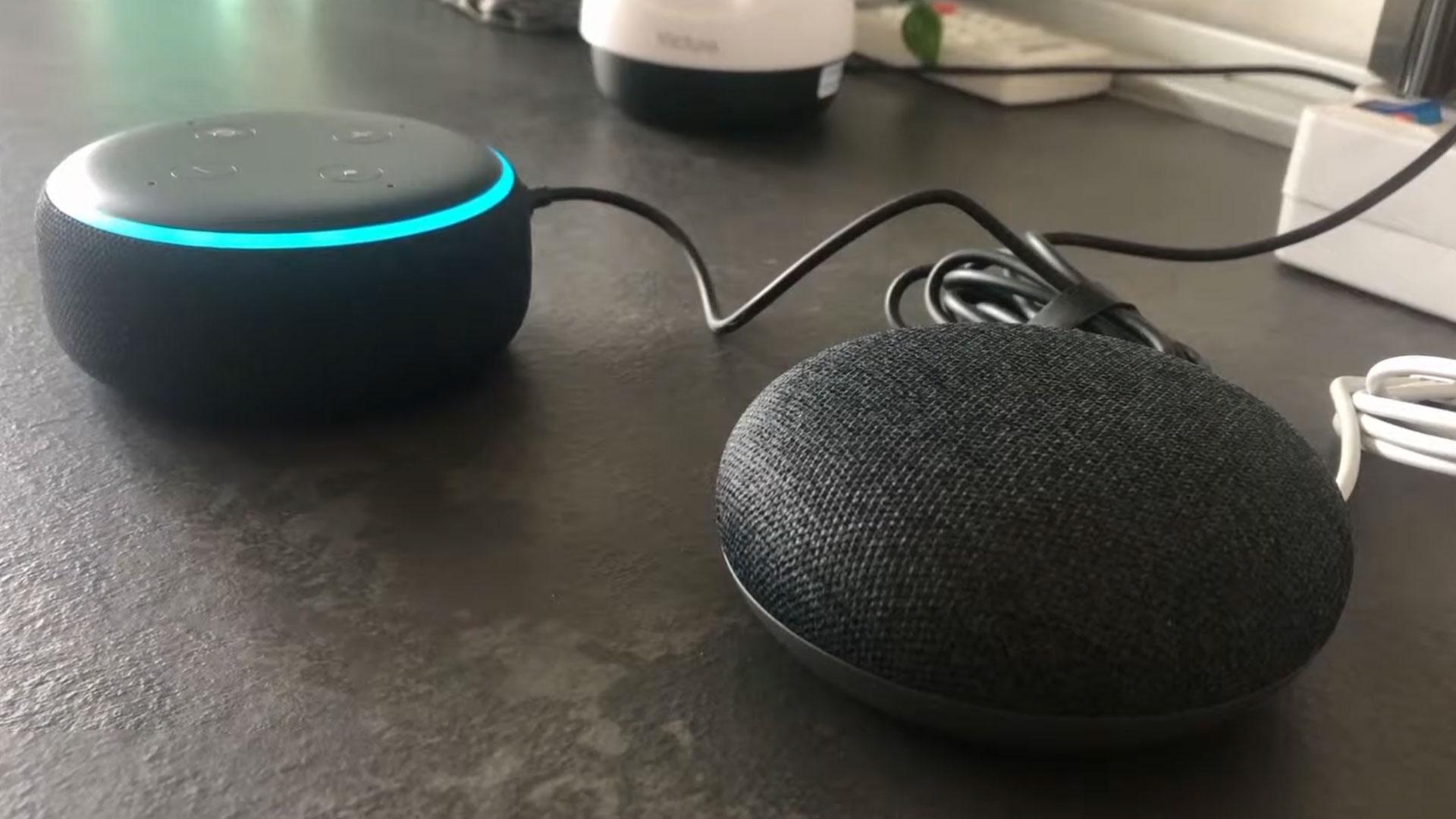 Amazon Alexa Echo Dot vs Google Home Mini having a conversation. Dialogo tra assistenti virtuali
