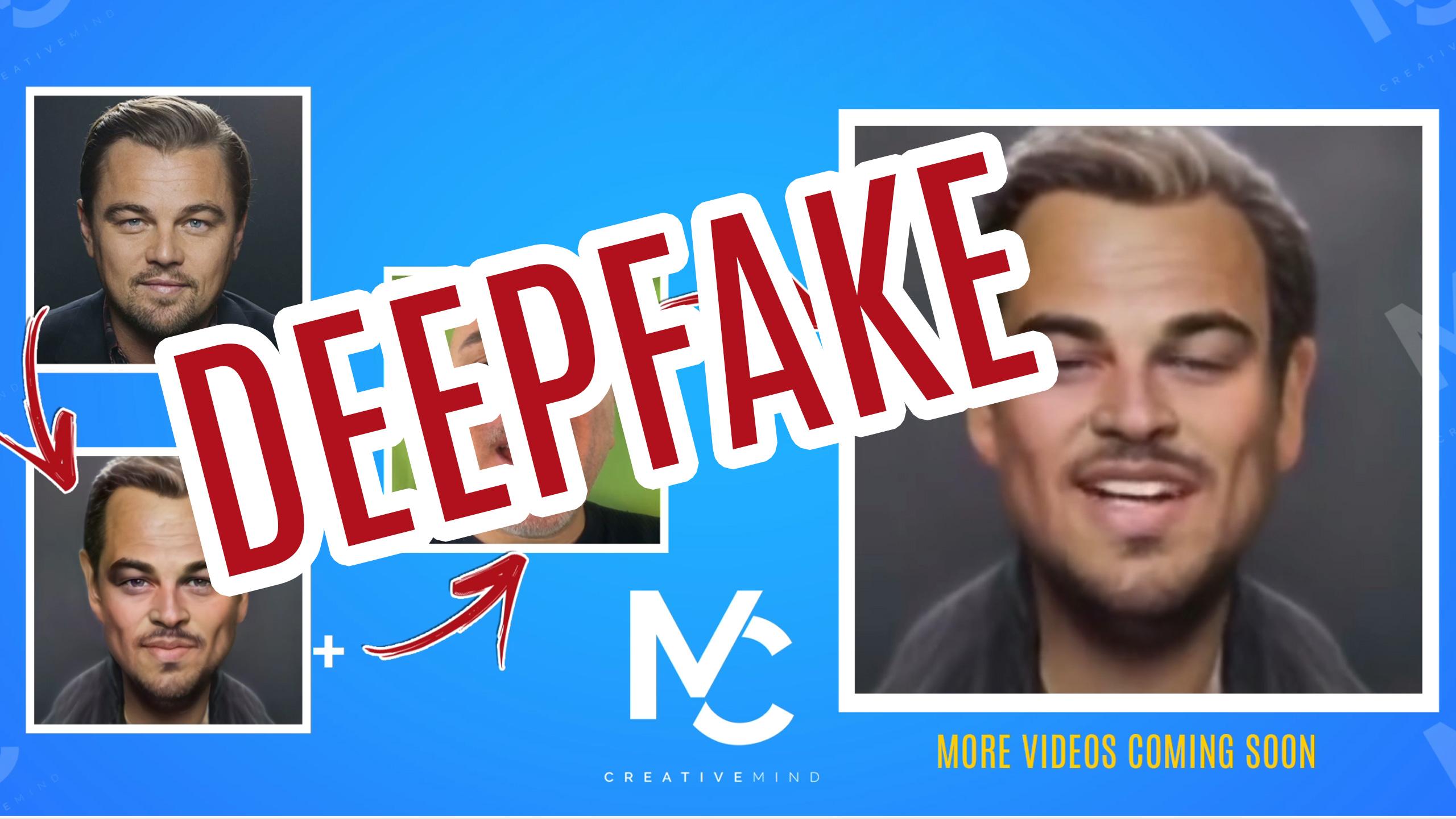 Esempio di deepfake. Dalla foto iniziale di Leonardo DiCaprio alla caricatura  e poi al video finale